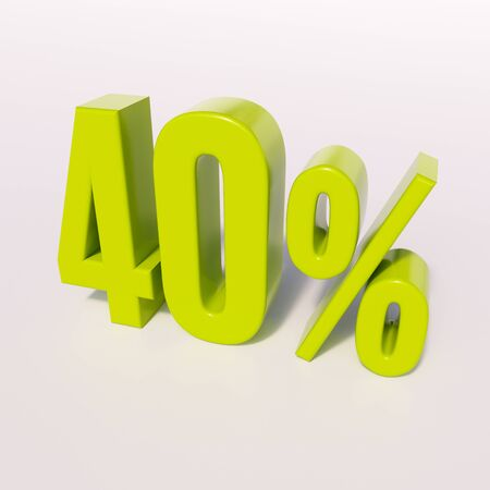 half cent: 3d render: green 40 percent, percentage discount sign on white, 40%