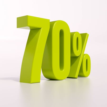 percent: 3d render: green 70 percent, percentage discount sign on white, 70%