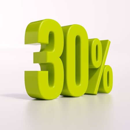 the 30: 3d render: green 30 percent, percentage discount sign on white, 30%