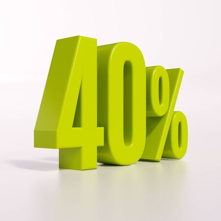 40: 3d render: green 40 percent, percentage discount sign on white, 40%