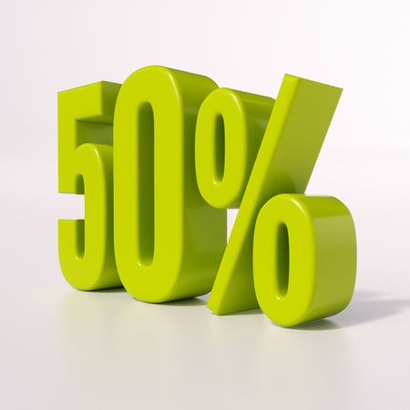 half cent: 3d render: green 50 percent, percentage discount sign on white, 50%