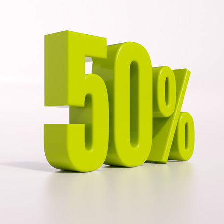 percent: 3d render: green 50 percent, percentage discount sign on white, 50%
