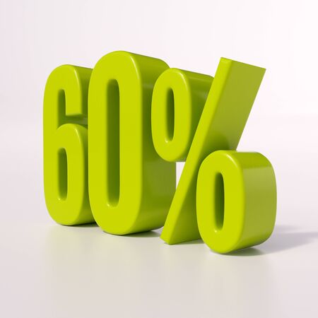 60: 3d render: green 60 percent, percentage discount sign on white, 60% Stock Photo