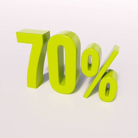 point of interest: 3d render: green 70 percent, percentage discount sign on white, 70%