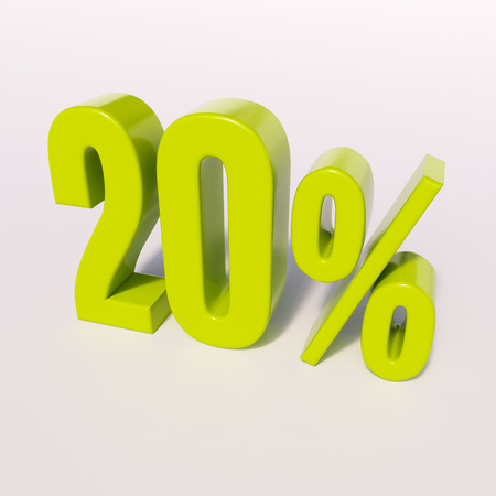 half cent: 3d render: green 20 percent, percentage discount sign on white, 20%