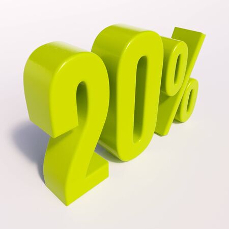 point of interest: 3d render: green 20 percent, percentage discount sign on white, 20%