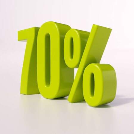 half cent: 3d render: green 70 percent, percentage discount sign on white, 70%