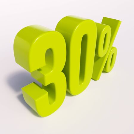 thirty percent off: 3d render: green 30 percent, percentage discount sign on white, 30%