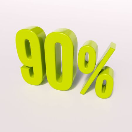 percent: 3d render: green 90 percent, percentage discount sign on white, 90%