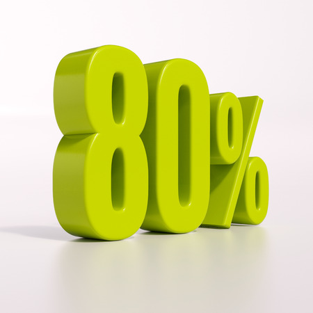 percent: 3d render: green 80 percent, percentage discount sign on white, 80% Stock Photo
