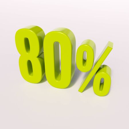 80: 3d render: green 80 percent, percentage discount sign on white, 80% Stock Photo