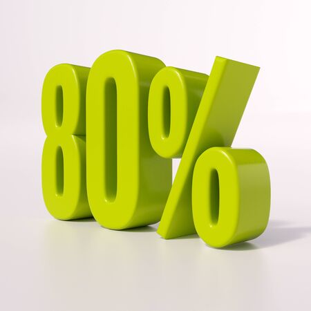 point of interest: 3d render: green 80 percent, percentage discount sign on white, 80% Stock Photo