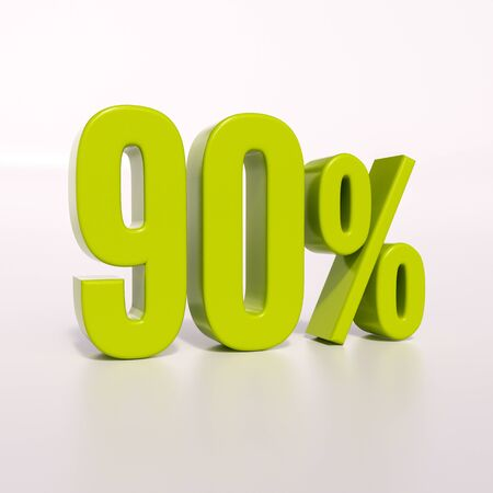 arithmetic: 3d render: green 90 percent, percentage discount sign on white, 90%