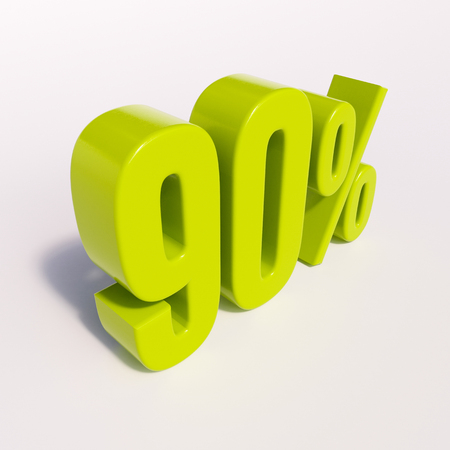 point of interest: 3d render: green 90 percent, percentage discount sign on white, 90%