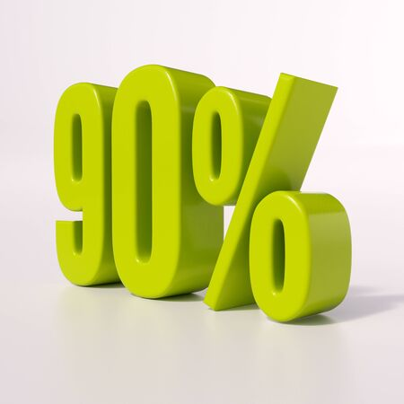 half cent: 3d render: green 90 percent, percentage discount sign on white, 90%