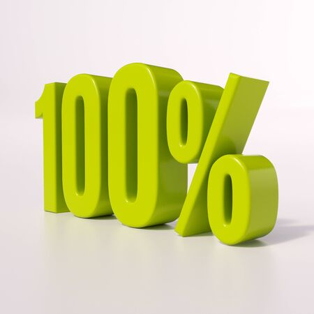 half cent: 3d render: green 100 percent, percentage discount sign on white, 100% Stock Photo