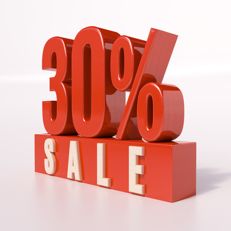 point of interest: 3d render: red 30 percent, percentage discount sign on white, 30% off, Illustration for sale actions