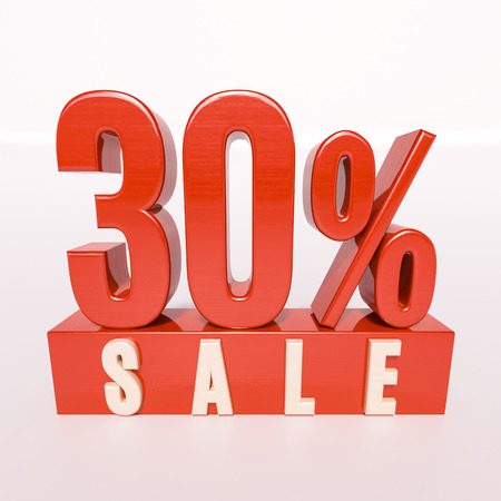 thirty percent off: 3d render: red 30 percent, percentage discount sign on white, 30% off, Illustration for sale actions