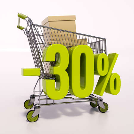 the 30: 3d render: shopping cart and green 30 percentage discount sign on white, sale 30% Stock Photo