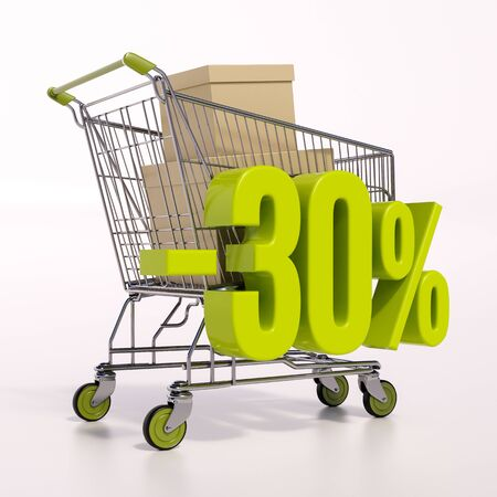 point of interest: 3d render: shopping cart and green 30 percentage discount sign on white, sale 30% Stock Photo