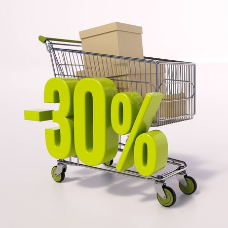 shopping sale: 3d render: shopping cart and green 30 percentage discount sign on white, sale 30% Stock Photo