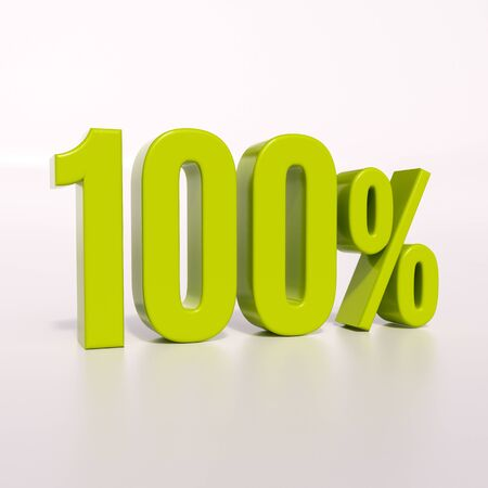 percent: 3d render: green 100 percent, percentage discount sign on white, 100% Stock Photo