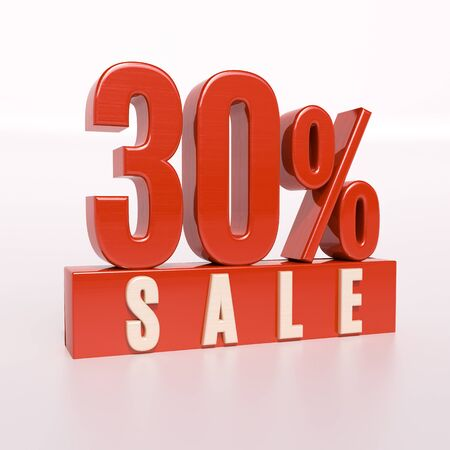 half cent: 3d render: red 30 percent, percentage discount sign on white, 30% off, Illustration for sale actions