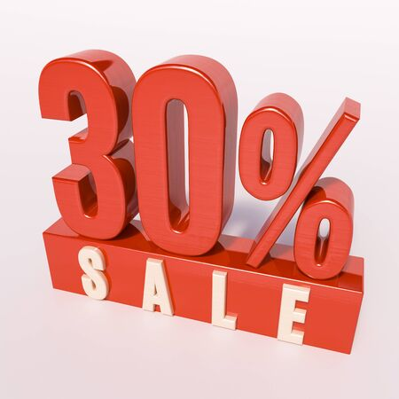 percent: 3d render: red 30 percent, percentage discount sign on white, 30% off, Illustration for sale actions