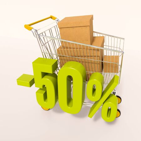 50: 3d render: shopping cart and green 50 percentage discount sign on white, sale 50%