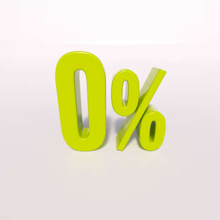 freebie: 3d render: green 0 percent, percentage sign on white, 0%