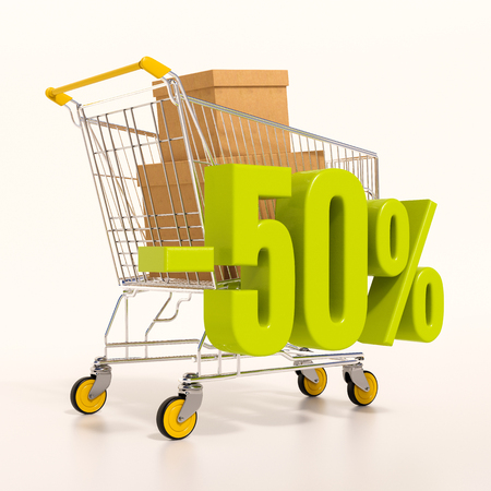 half cent: 3d render: shopping cart and green 50 percentage discount sign on white, sale 50%
