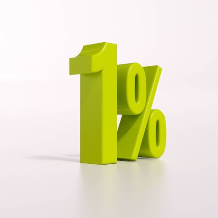 half cent: 3d render: green 1 percent, percentage discount sign on white, 1% Stock Photo