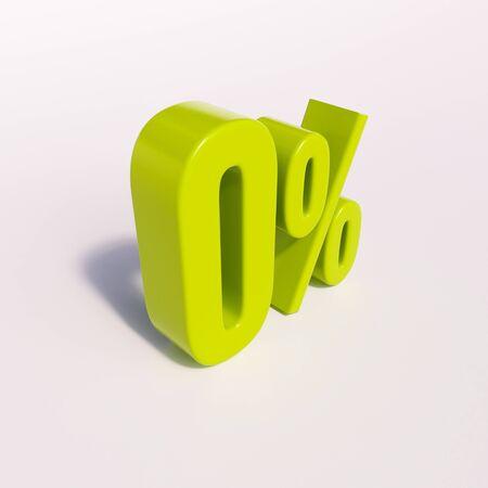 percent: 3d render: green 0 percent, percentage sign on white, 0%