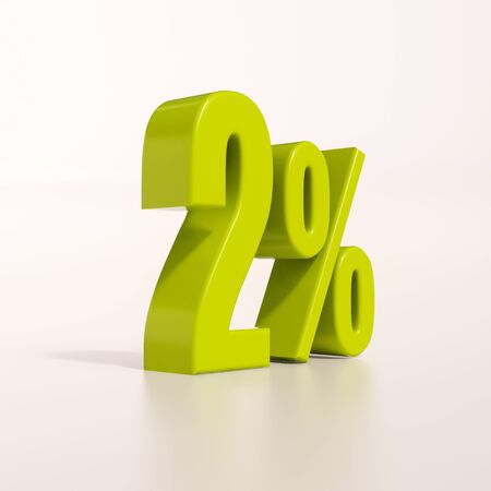 percent: 3d render: green 2 percent, percentage discount sign on white, 2%