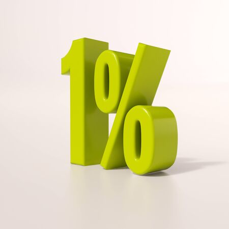 percent: 3d render: green 1 percent, percentage discount sign on white, 1% Stock Photo
