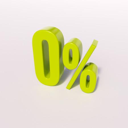 percentage sign: 3d render: green 0 percent, percentage sign on white, 0%