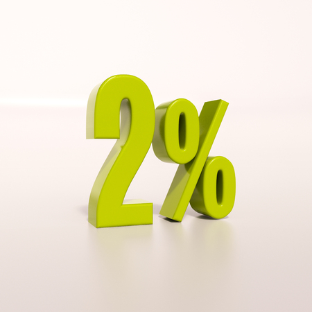 half cent: 3d render: green 2 percent, percentage discount sign on white, 2%