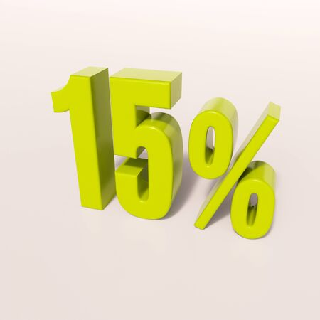half cent: 3d render: green 15 percent, percentage discount sign on white, 15%