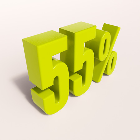 half cent: 3d render: green 55 percent, percentage discount sign on white, 55%