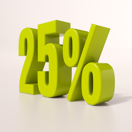 25: 3d render: green 25 percent, percentage discount sign on white, 25%