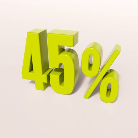 45: 3d render: green 45 percent, percentage discount sign on white, 45%