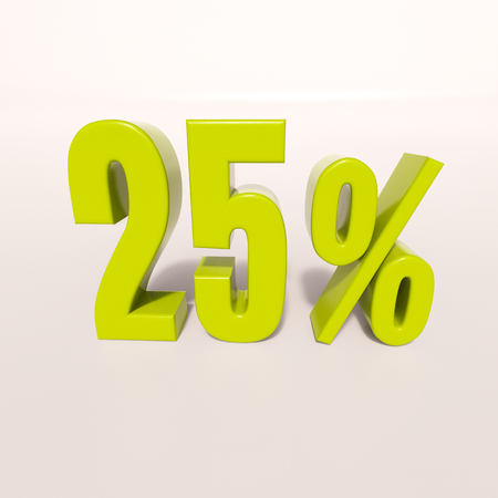 percent: 3d render: green 25 percent, percentage discount sign on white, 25%