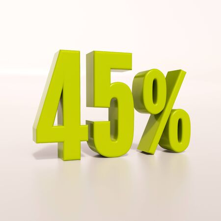 percent: 3d render: green 45 percent, percentage discount sign on white, 45%