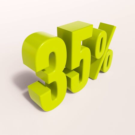 thirty percent off: 3d render: green 35 percent, percentage discount sign on white, 35% Stock Photo