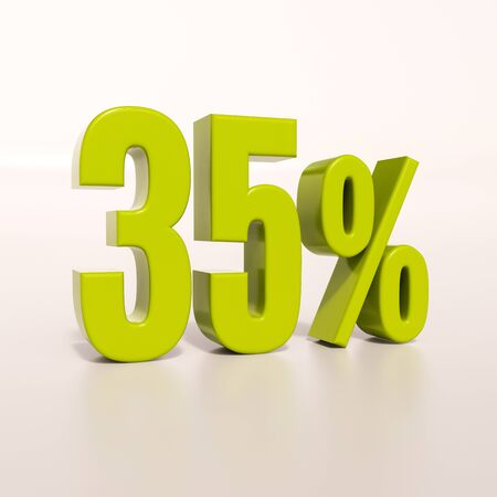 percent: 3d render: green 35 percent, percentage discount sign on white, 35% Stock Photo