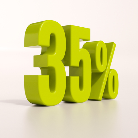 35: 3d render: green 35 percent, percentage discount sign on white, 35% Stock Photo