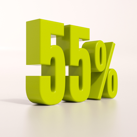 percent: 3d render: green 55 percent, percentage discount sign on white, 55%