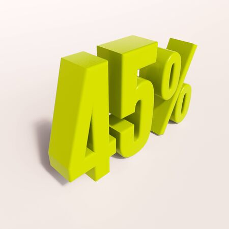 half cent: 3d render: green 45 percent, percentage discount sign on white, 45%