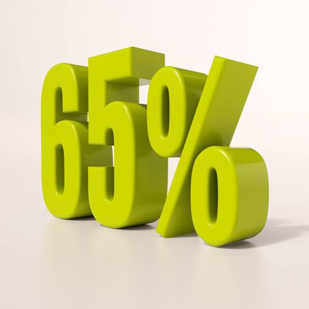 65: 3d render: green 65 percent, percentage discount sign on white, 65% Stock Photo