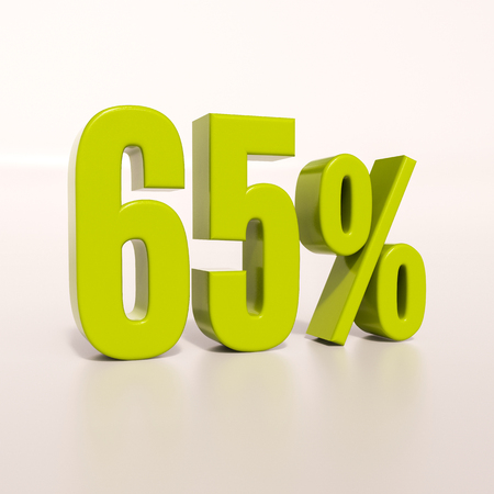 3d render: green 65 percent, percentage discount sign on white, 65% Stock Photo